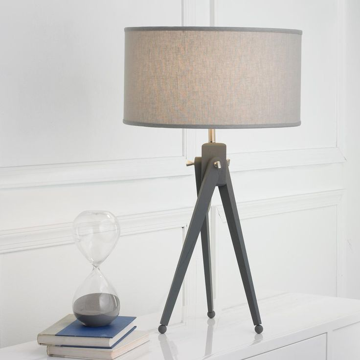 Tripod table lamp gray wood tripod table lamp from the beach bedside
