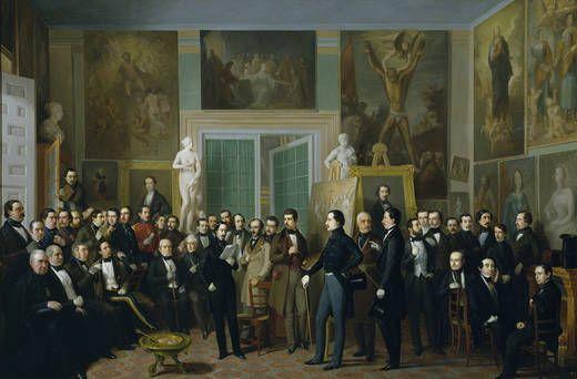 """""""Los poetas contemporáneos, una lectura de Zorrilla en el estudio del pintor"""". (1846). Antonio María Esquivel."""