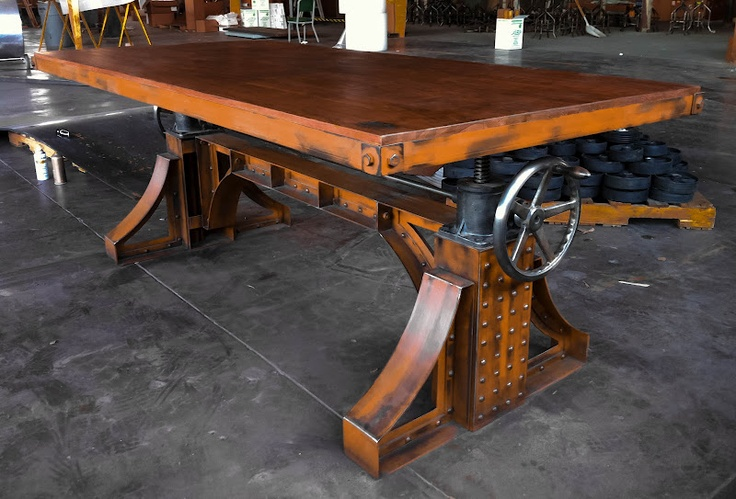 vintage industrial bronx crank table conference room wine tasting room bar drafting room. Black Bedroom Furniture Sets. Home Design Ideas