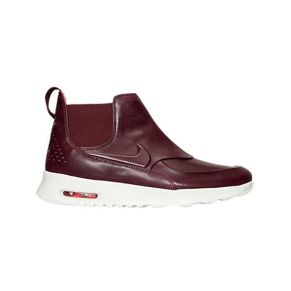 Nike Women's Air Max Thea Mid-Top Running Shoes (€125) ❤ liked on Polyvore featuring shoes, athletic shoes, red, nike, real leather shoes, red running shoes, leather running shoes and nike athletic shoes