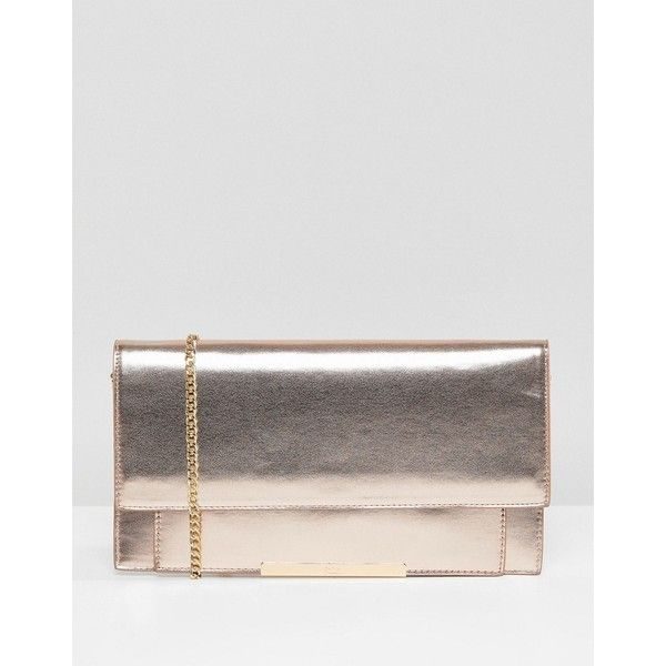 Faith Pablo Rose Gold Clutch Bag (150 BRL) ❤ liked on Polyvore featuring bags, handbags, clutches, gold, pink purse, pink studded purse, rose gold handbag, studded clutches and rose purse