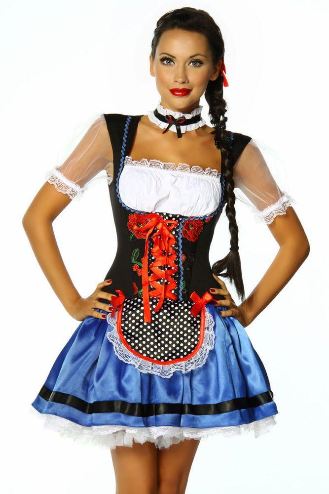 Dirndl Tracht Oktoberfest Trachtenkleid Kleid Blau Schwarz Weiß S M L XL 2XL NEU