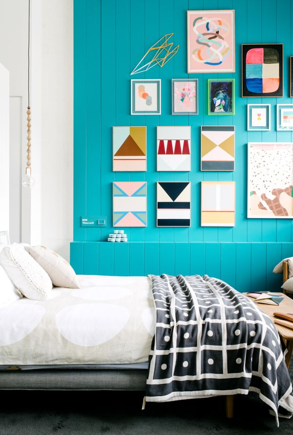 bright & fun: Wall Art, Geometric Art, Blue Wall, Wall Color, Galleries Wall, Design Files, Bright Wall, Turquoise Wall, Accent Wall