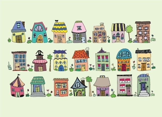 little houses. $14.00, via Etsy.