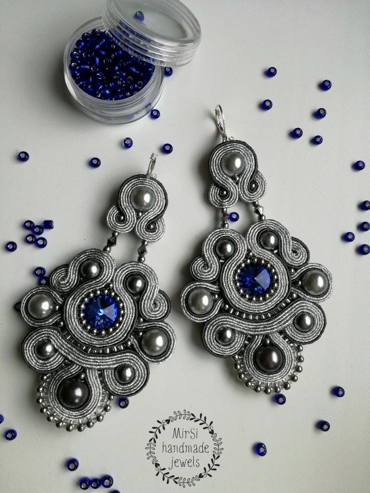 MirSi handmade jewels: Silver and dark grey soutache earrings with silver seed beads,  silver pearls and bicones and blue Swarovski rivoli