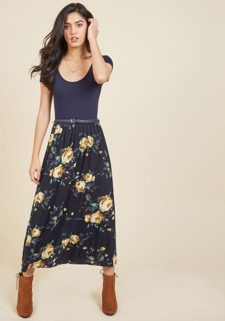 Savvy Storyteller Midi Dress | Mod Retro Vintage Dresses | ModCloth.com  Reading a passage from your latest book is a breeze with this navy midi dress in the equation! The scoop neck, cap sleeves, and floral-printed skirt of this belted frock captivate your audience from the moment you step on stage, and perfectly complement the narrative craft of your debut excerpt.