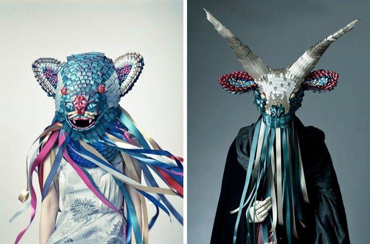 Скульптуры, предметы и маски животных из атласных и шелковых лент от японского дизайнера Baku Maeda