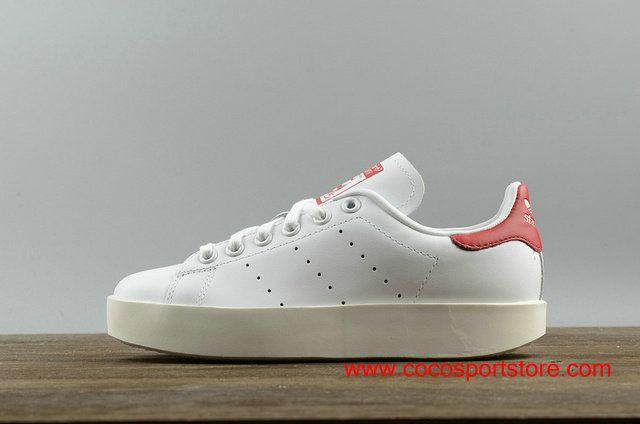 6b01a90c2ac244 Adidas Stan Smith S32267 White Red Womens Platform Shoes