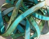 Coral Reef Hand Dyed Silk Ribbons Watercolor Turquoise Brown Green Blue