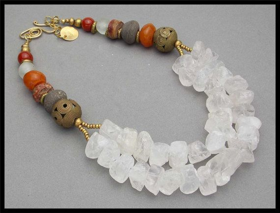 30% OFF - MAURITANIA - Rock Quartz - Ancient African Spindle Whorls - Moroccan Amber - 2 St Necklace