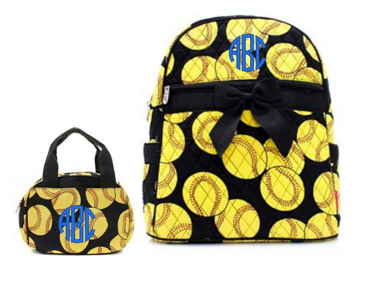 """Matching Backpack Lunch Bag Personalized Softball Yellow Black 15"""" Quilted Backpack"""