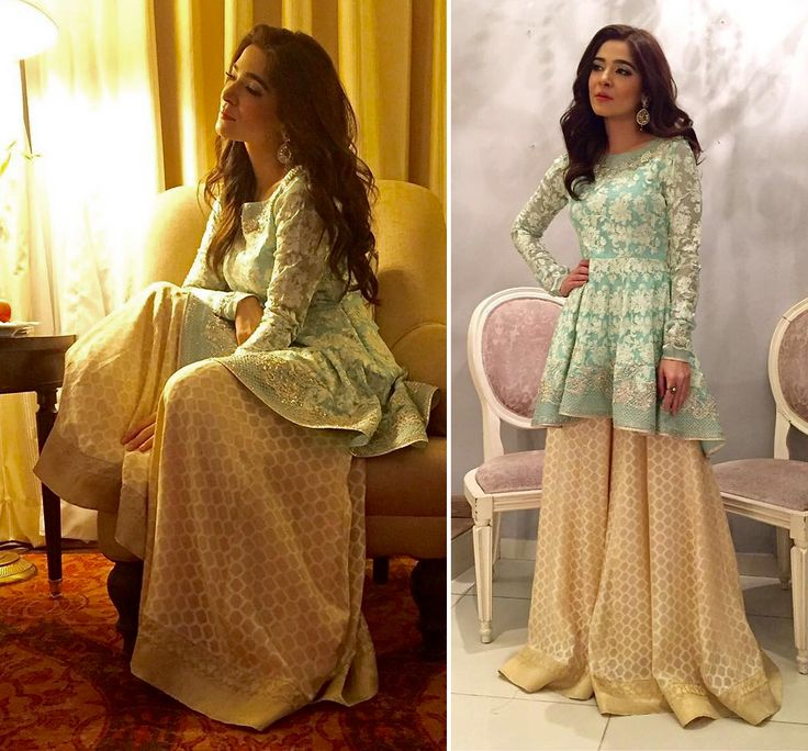 AyeshaOmar wears a @SaniaMaskatiya Peplum top with hand embroidery from the Summer Bloom collection paired with flared Gharara pants