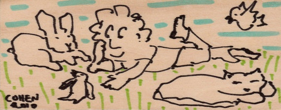 Chillin Outdoors - original marker drawing on wood panel