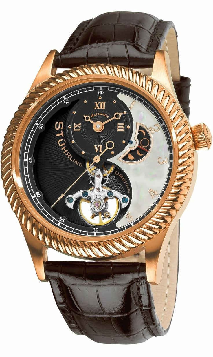 Stuhrling Original Men's 91D.334554 Enigma Automatic Mother of Pearl AM/PM Indicator Brown Watch: Watches: Amazon.com Eccentric Tycoon Stylo