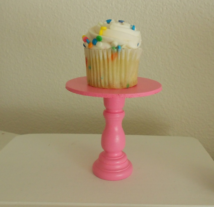 Bubblegum  hot Pink  mini wooden cupcake stand or cake pop stand so sweet. $5.00, via Etsy.