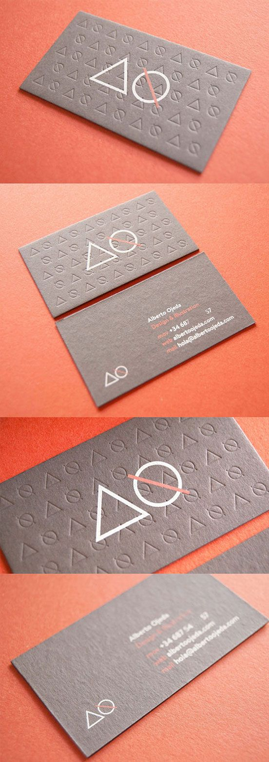 Creative use of embossing - Letterpress Business Card #creativebusinesscards #cards