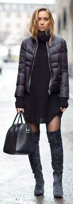 thigh high boots, blogger, knitted dress, dress, lisa olsson, winter jacket, sweater dress, winter outfits, jacket, bag, shoes, sweater, down jacket