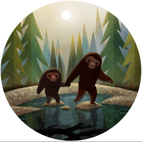 Bigfoot in whimsical illustration ~