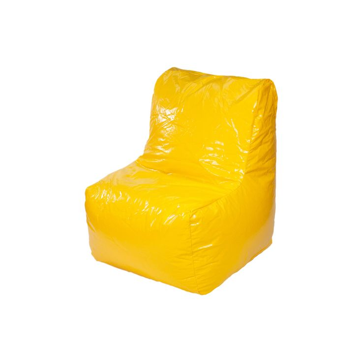 Sectional Wet Look Vinyl Bean Bag Chair Yellow - Gold Medal