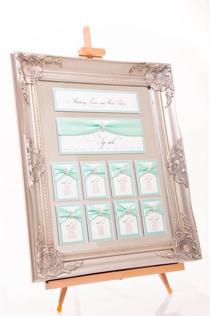 Tiffany Blue vintage table plan - T for Two Invitations