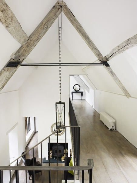 beautiful . beams . floor . black and white .