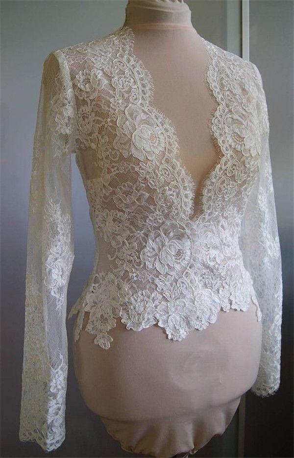2014V-Neck White Long Sleeve Lace Bridal Jacket/Bolero/Shrug for Wedding Dresses #BolerosShrugs