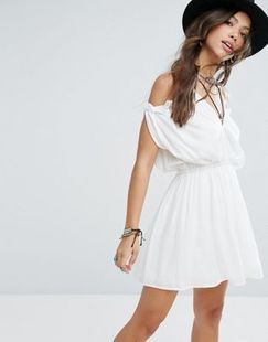 ASOS Glamorous Festival Cold Shoulder Dress With Ruffle Trim Found on my new favorite app Dote Shopping #DoteApp #Shopping