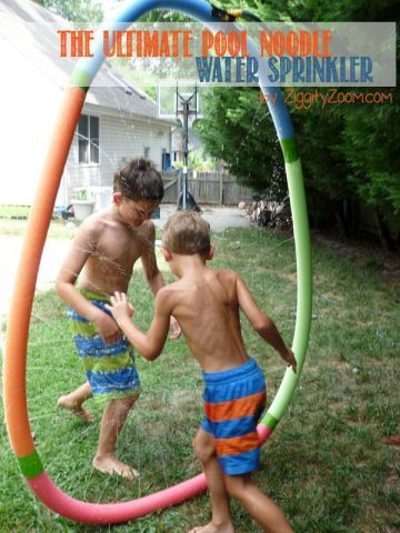DIY water sprinkler ... make this inexpensive water sprinkler from pool noodles from the Dollar store ... spend only $5 for a summer of water fun!