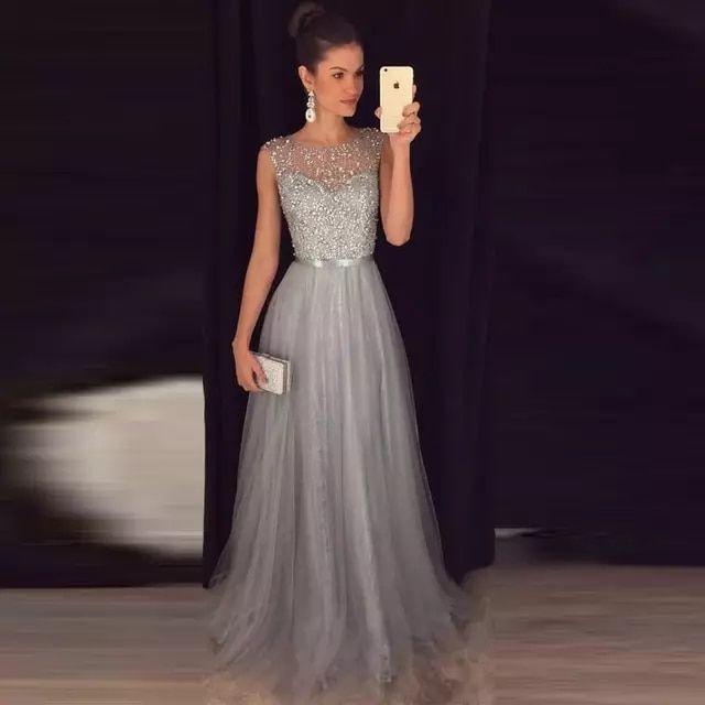 Gris baile vestidos largos con cuentas de tul con lentejuelas una line largo 201…
