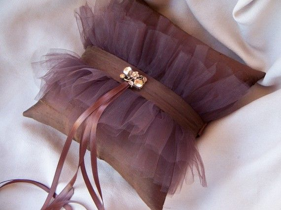 Elegant Brown Tulle Bridal Rhinestone Wedding Ring Pillow #fairgateinn