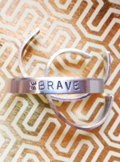 Inexpensive perfect gift for kids. //Be Brave Cuff Aluminum Bracelet