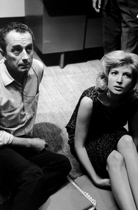 Michelangelo Antonioni and Monica Vitti on the set of L'Eclisse