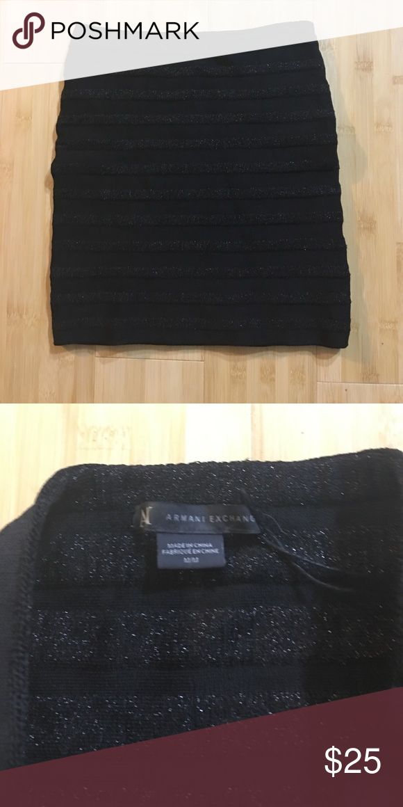 Black Armani Exchange mini skirt This is the skirt that you have been looking for. It's an authentic Armani Exchange black mini skirt. Size medium. Used only once! It's a nice thick material. Not see through. Pair with high heels or high boots. Whatever you desire. A/X Armani Exchange Skirts Mini
