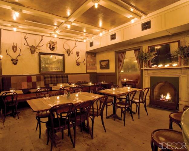 elle decor goes to manhattan freemans restaurant - Beaded Inset Restaurant Interior