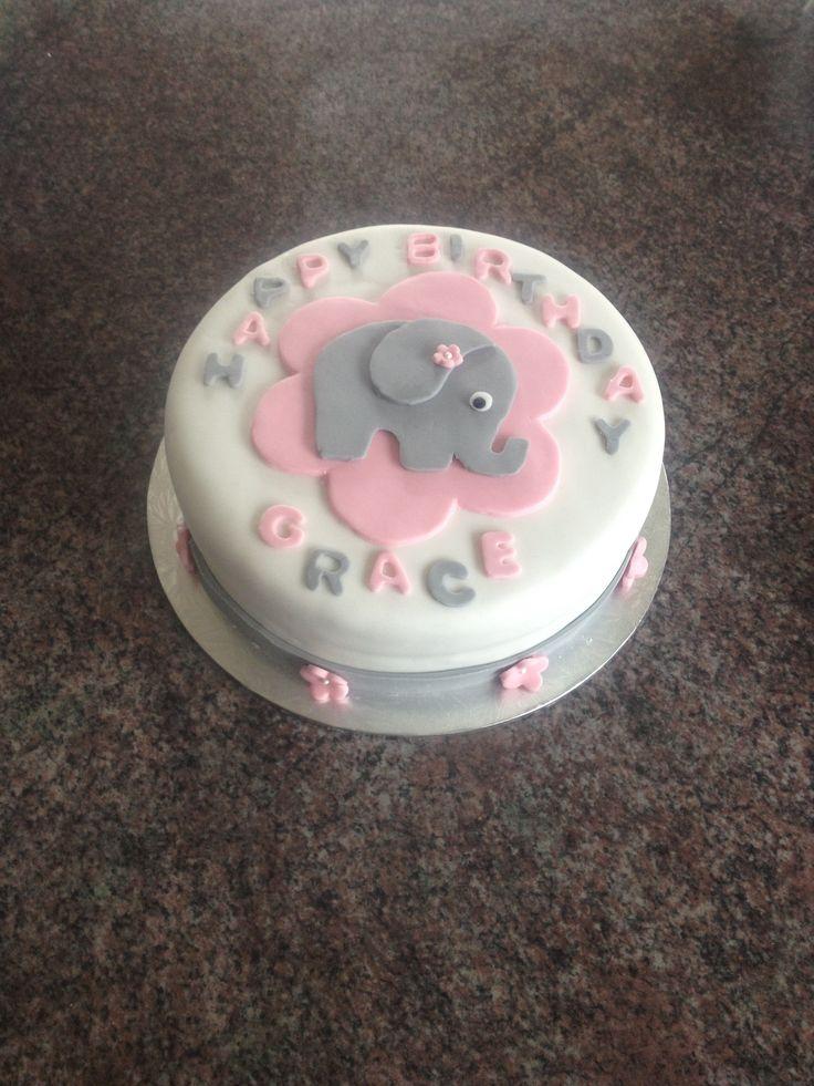 Baby elephant first birthday cake