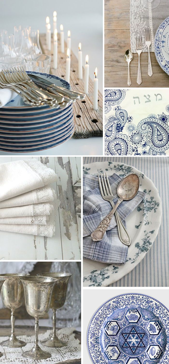 Passover Style: Rustic Blue and White like the candle holder. Rustic. Pesach/Passover.  Jewish Holiday Inspiration.