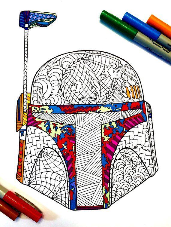 Boba Fett S Helmet Pdf Zentangle Coloring Page Boba Fett Helmet Coloring Pages Star Wars Art