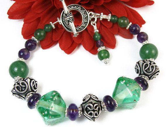 Green Lampwork Amethyst Bracelet Bali Style Beads by #PrettyGonzo #Handmade #Jewelry