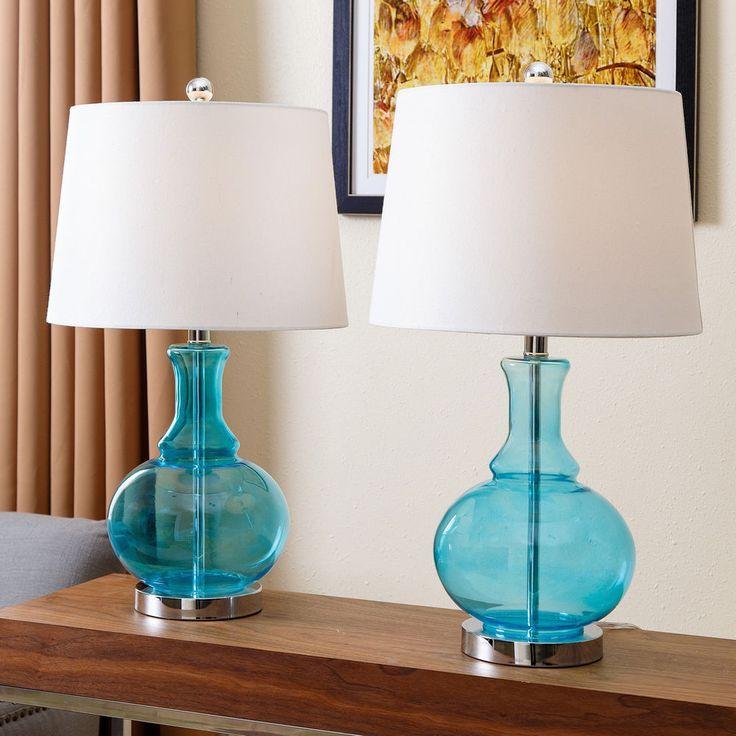 Abbyson Living Ellis Turquoise Glass Table Lamp Set Of 2