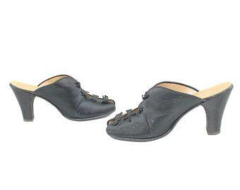 40s satin slips boudoir shoes black heels pumps daniel - Ladies bedroom slippers with heel ...