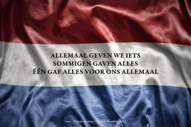 Allemaal geven we iets, sommigen gaven alles, Één gaf alles voor ons allemaal.  #4Mei, #Dodenherdenking, #Geven  https://www.dagelijksebroodkruimels.nl/een-gaf-alles/