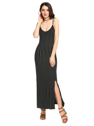 Black Striped Side Backless Maxi Dress