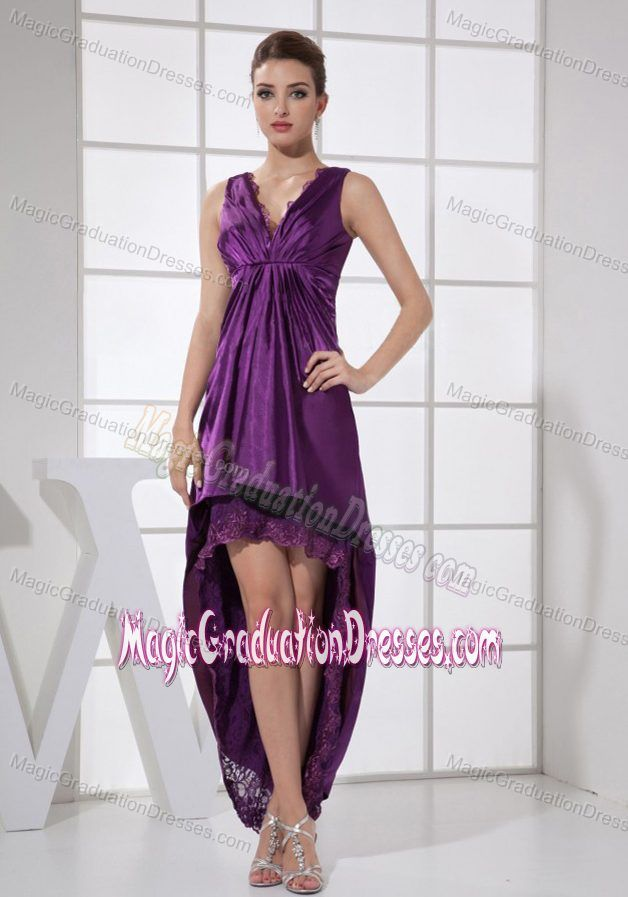 Straps with V-neck Purple and High-low Middle School Grad Dresses