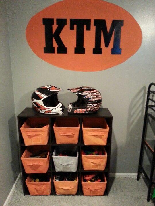 Painted Old Cubby Cubes Black U0026 Baskets In KTM Colors · Motocross  BedroomBike RoomDirtbikesGood IdeasTheme ...