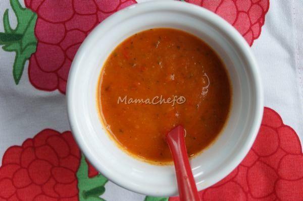 Zupa z pieczonej papryki z cukinią dla niemowlaka