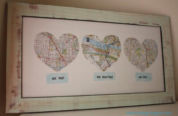 It is a Love Map showcasing the cities they met, married, and now live. This would be SO easy to do and pretty cost friendly! You could make it as big or as small as you wanted. I'm thinking I'd do mine on canvas and have the hearts raised up?! {Oh, the possibilities!} I can't wait to do this for my next anniversary.