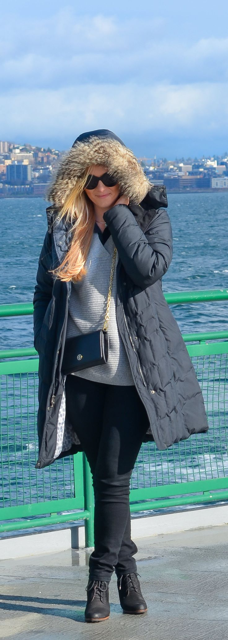 Long Puffer Coat Outfit | Eddie Bauer Black Puffy Coat - What I Wore Seattle