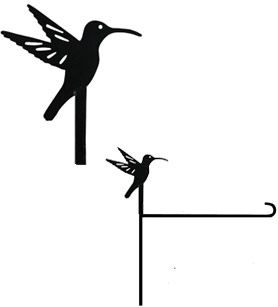 Hummingbird Garden Stand Finial This metal garden stand finial is made to fit our Welcome Finial Garden Flag Stand (code XP23945) and has a long-lasting powder coated black finish. It's one of a variety of interchangeable designs to celebrate seasons, holidays and special occasions! Size is approximately 6 inches by 6 inches.  **Free delivery to anywhere in the United States.**
