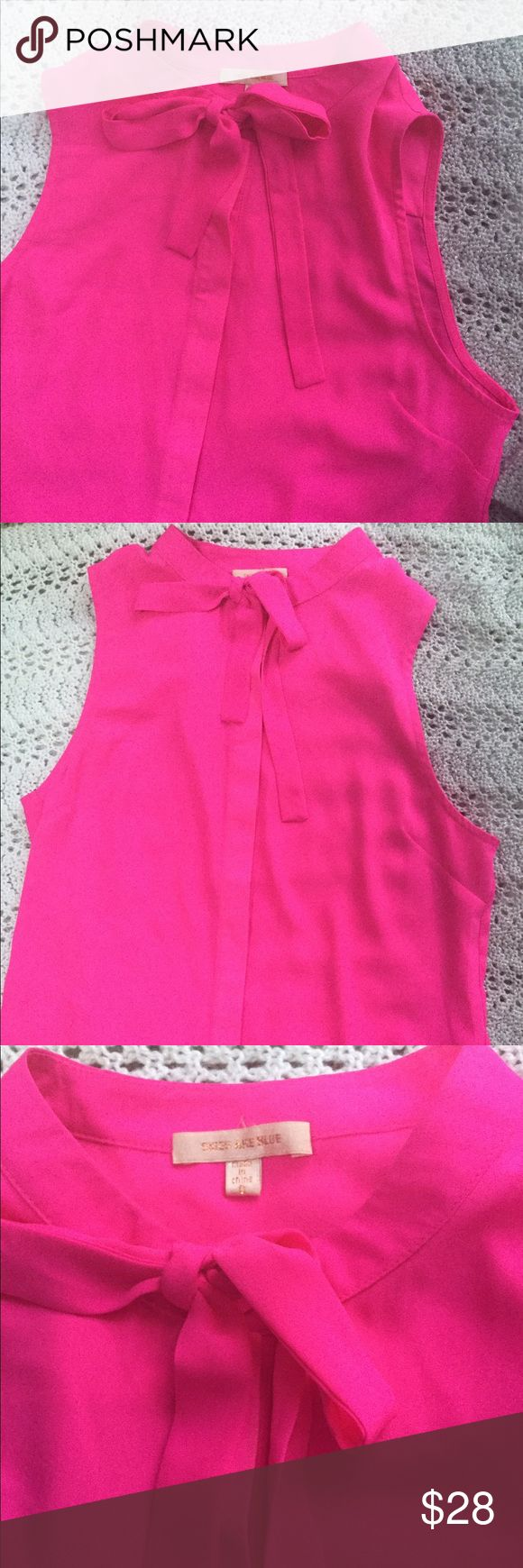 NWOT Neon Pink Blouse Brand new, never worn hot pink blouse. It buttons all the way up (buttons are hidden) and has two gold loops at the top where it ties. Super cute, size S. Skies Are Blue Tops Blouses