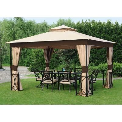12 ft x 10 ft belcourt gazebo l gz472pst c a the home for Sillas para jardin home depot